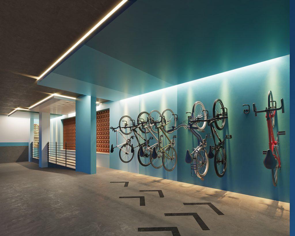 Bicicletário com bike sharing no Lúmina